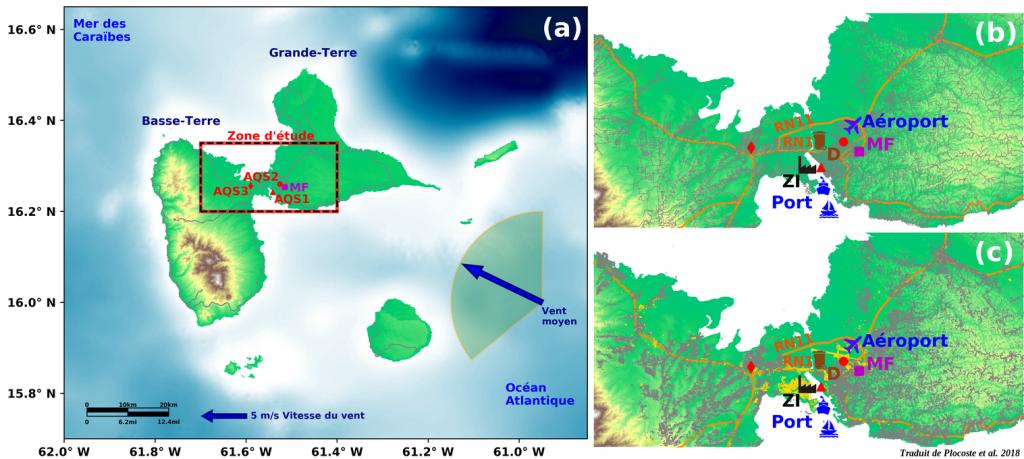 Carte des limite de  la zone d'étude de la pollution 03 NOx